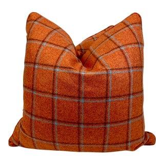 "Moon ""San Francisco in Orange"" Wool Plaid 22"" Pillows-A Pair For Sale"