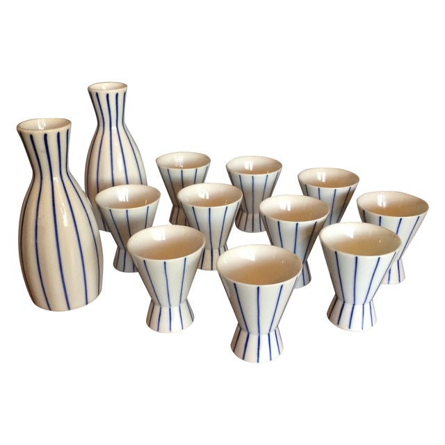Blue & White Striped Sake Set - 12 Pieces - Image 1 of 5