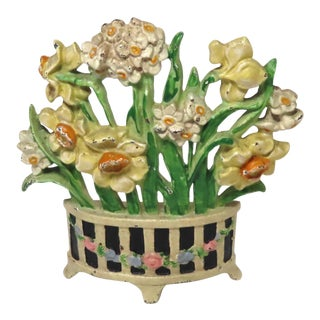 Vintage 1930s Hubley Cast Iron Assorted Flower Doorstop For Sale