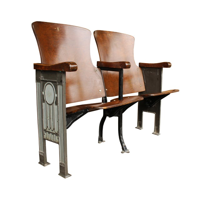 Salvaged Folding Wood Theater Chairs - Pair - Image 3 of 5