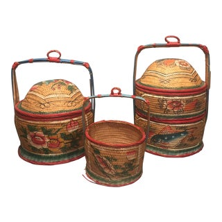 Chinese Wedding Baskets - Set of 3 For Sale