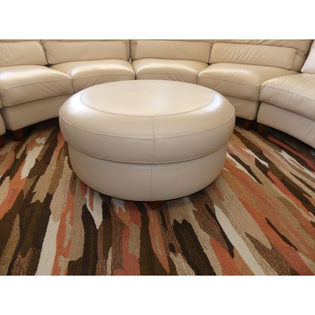 2010s Bloomingdale's Chateau d'Ax Italian Leather Sectional Sofa With Ottoman For Sale - Image 5 of 12