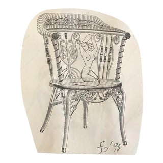 1998 Female Nude on Victorian Chair Collage Drawing For Sale