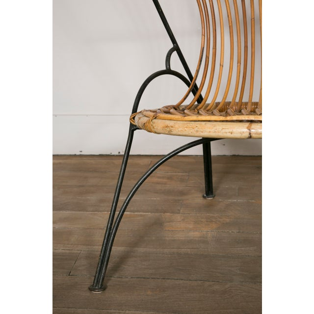 Set of 3 Metal and Wicker Slipper Chairs For Sale - Image 10 of 11