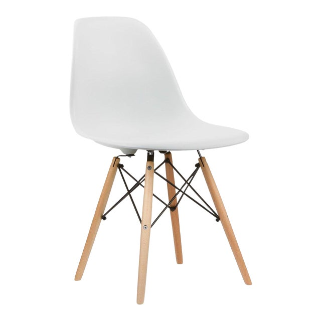 set of 3 eames style white plastic shell chairs will sell