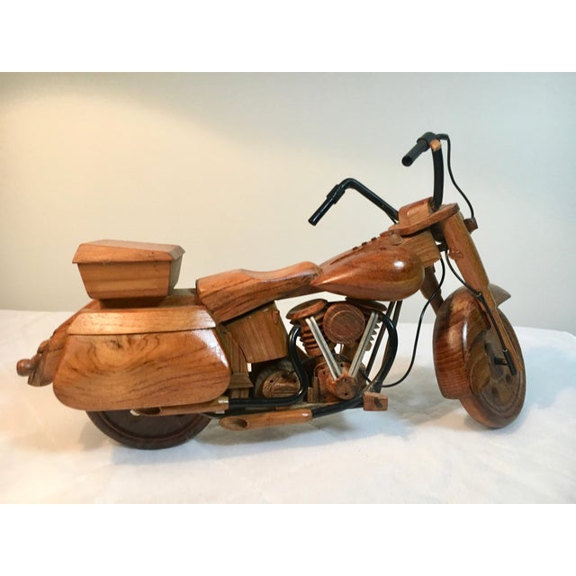 Mid-Century Modern Wooden Model Motorcycle Replica For Sale - Image 4 of 9