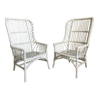 Pair of Vintage Ficks Reed Rattan High Back Dining Chairs For Sale