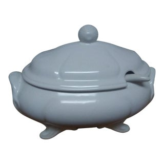 Classic White Lidded Tureen W/ Laddle For Sale