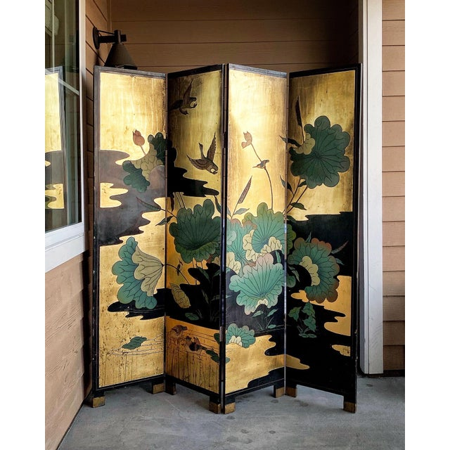 Gold 1950s Vintage Gold Chinese Room Divider For Sale - Image 8 of 8