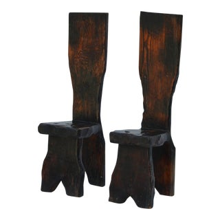 Unique Pair of Sculptural Oregon Pine Wabi Side Chairs For Sale