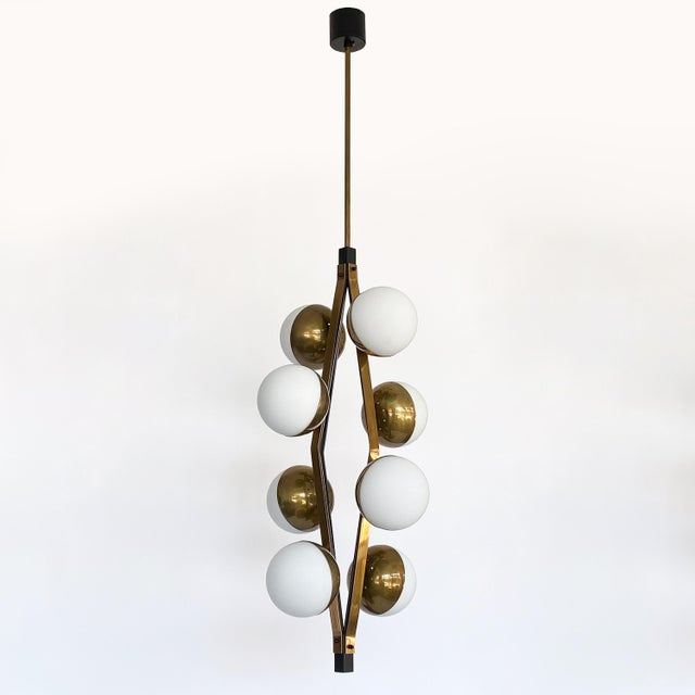 Pair of Stilnovo Brass Eight Globe Pendant Chandeliers For Sale In Chicago - Image 6 of 13