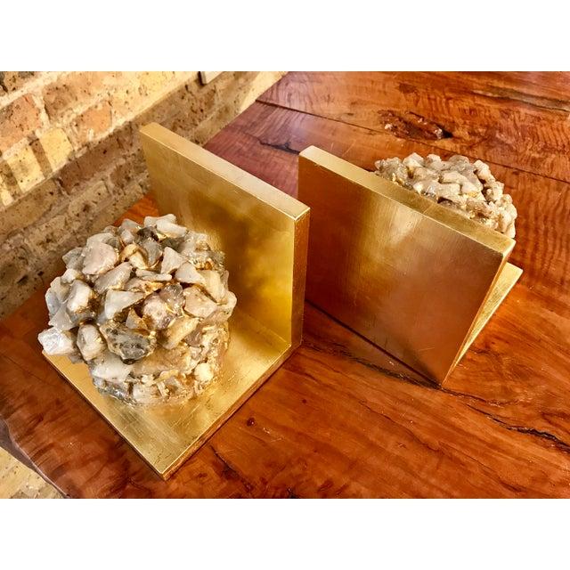 Quartz Stone Gold Leaf Bookends - A Pair - Image 3 of 9