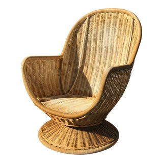 1960s Vintage Rattan Sculptura Swivel Egg Chair For Sale