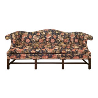 Hickory Chair Co Chippendale Style Floral Upholstered Camel Back Sofa