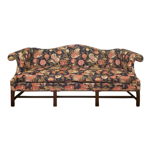 Hickory Chair Co Chippendale Style Floral Upholstered Camel Back Sofa For Sale