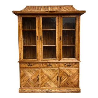 1970s Chinoiserie Pagoda Bamboo Display Cabinet For Sale