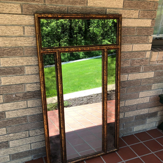 """Asian Large 48"""" Chinoiserie Gold Faux Bamboo Mirror W Surrounding Smoked Mirrors-See Pictures For Sale - Image 3 of 10"""
