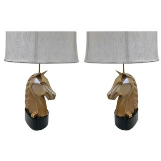 Pair of French Bronze Horse Lamps For Sale