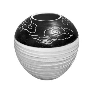 Asian Prosperity Black and White Cloud Vase For Sale