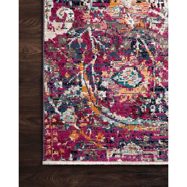 "Transitional Loloi Rugs Silvia Rug, Midnight / Fuchsia - 9'3""x13'3"" For Sale - Image 3 of 4"