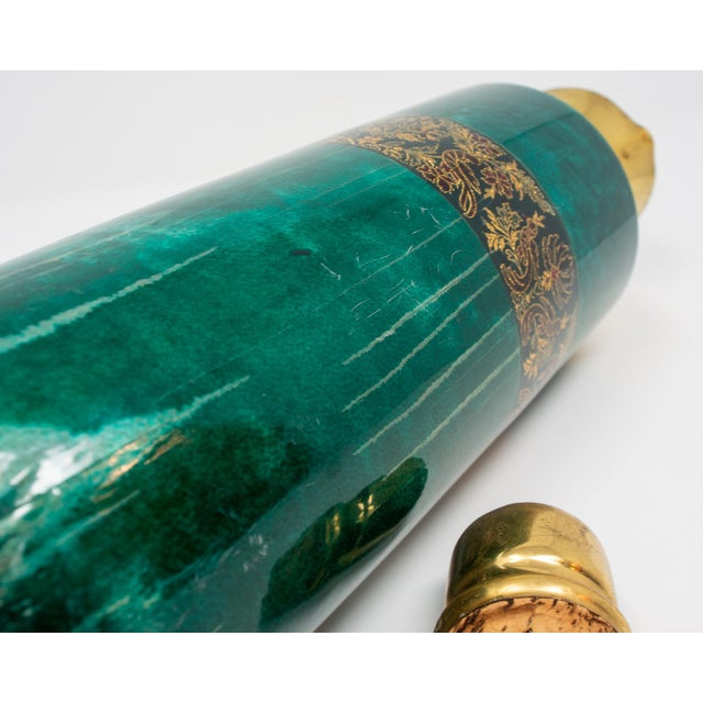 Italian Green Leather and Brass Decanter by Aldo Tura for Macabo For Sale - Image 9 of 12