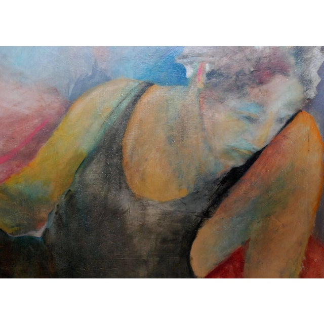 1940s oil on canvas painting of reclining woman signed by Louis Wolchonok. (American/New York 1893-1973) Please note: Two...