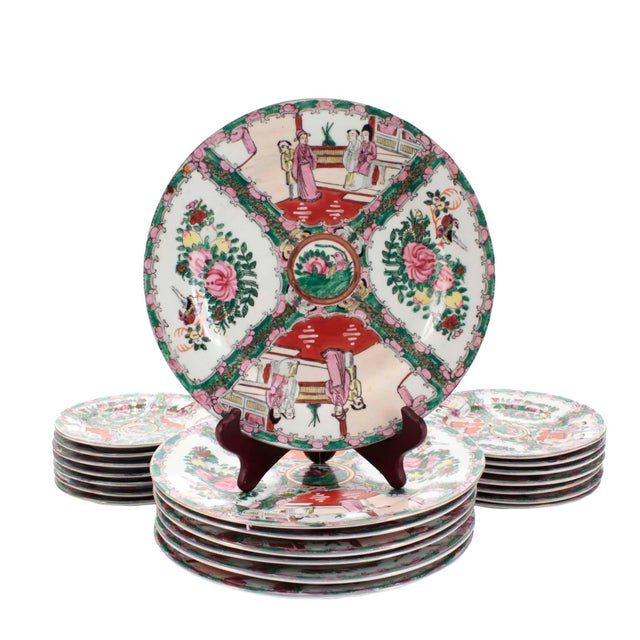 Chinese Porcelain Famille Rose Medallion Dishes, Service for 7 For Sale - Image 10 of 10