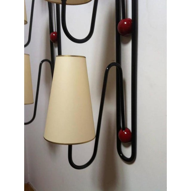 "Mid-Century Modern Jean Royère Documented Pair of Three-Light Red and Black Sconces Model ""Boule"" For Sale - Image 3 of 8"