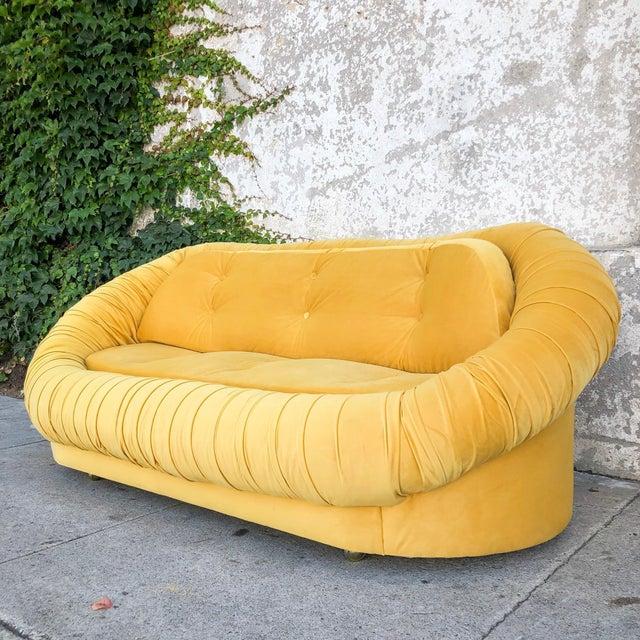 Vintage Lemon Yellow Velvet Reupholstered Loveseat For Sale In Los Angeles - Image 6 of 8