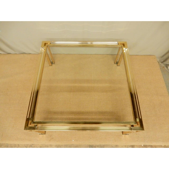 Metal Mid-Century Brass, Lucite, and Glass Square Coffee Table For Sale - Image 7 of 8