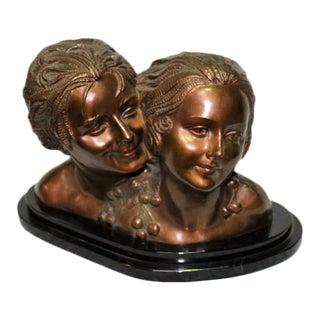 1990s Art Deco Double Bronze Bust For Sale