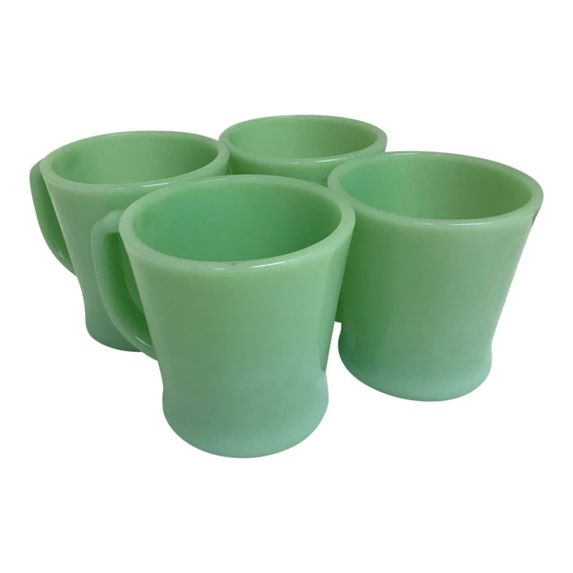 Vintage Fire-King Jadeite Green Mugs - Set of 4 For Sale