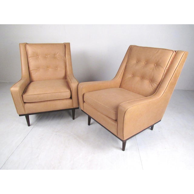 Pair Modern Leather Lounge Chairs For Sale - Image 4 of 11