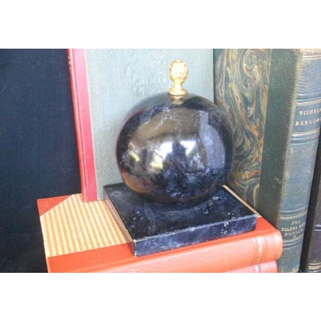 Alabaster Globe Bookend With Brass Finial - Image 2 of 7