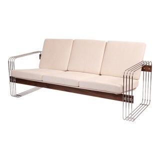 Heinz Meier for Landes Chrome Walnut and Upholstered Sofa For Sale