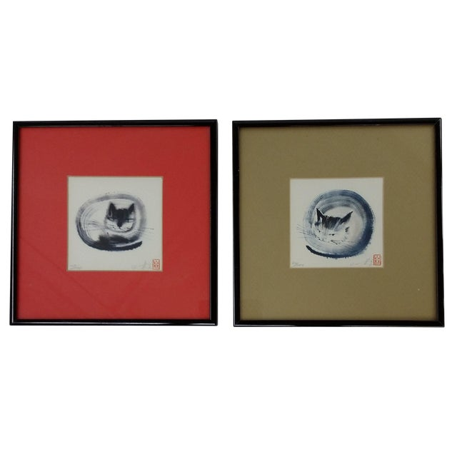 Japanese Collectible Watercolor Cats - A Pair - Image 1 of 10