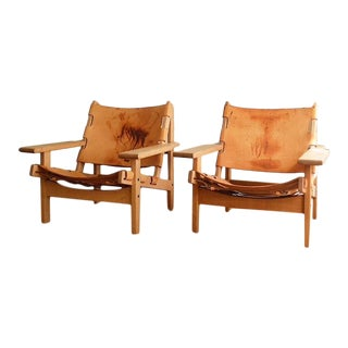 Pair of Vintage Kurt Ostervig Hunting Chairs | Leather and Oak Armchairs | Borge Mogensen Style | Scandinavian Modern