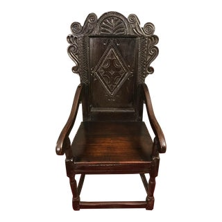 Antique 17th Century Charles II Oak Wainscot Chair For Sale