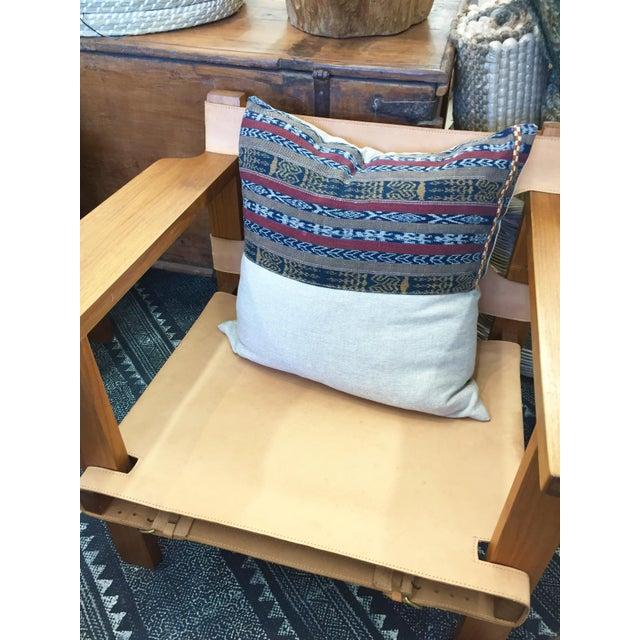 Vintage Indigo Cranberry Ikat Stripe Pillow - Image 2 of 6