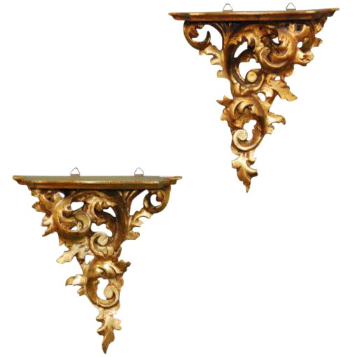 20th Century French Carved Gilded Wall Shelves - a Pair For Sale