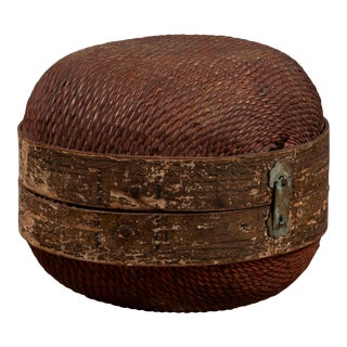 Vintage Chinese Midcentury Rattan Circular Hat Box with Weathered Patina For Sale