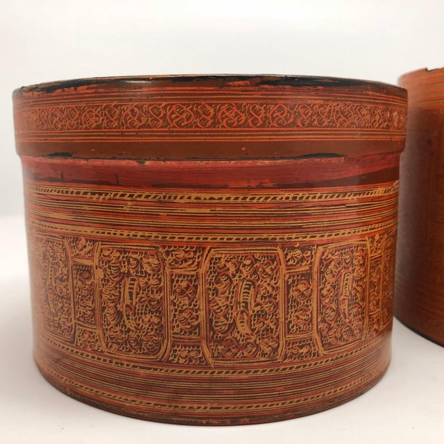 Early 20th Century Burmese Lacquer Kun-It Betel Box For Sale In Boston - Image 6 of 13