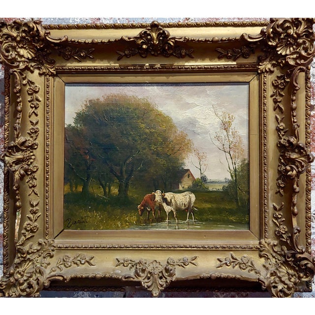 Jaques Durant -Landscape w/ Cows-Impressionist Oil Painting-c1860s French oil painting on canvas -Signed circa 1860/70s...