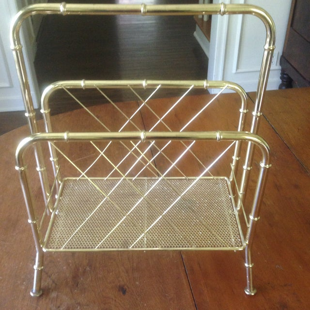 Vintage Faux Bamboo Gold Magazine Rack For Sale - Image 10 of 11