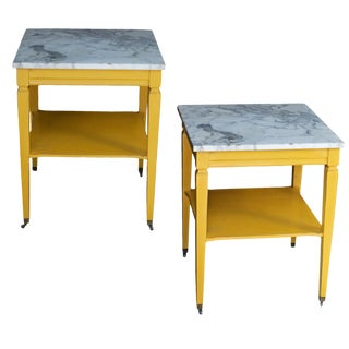 Pair of Marble Top End Tables in Marigold Yellow For Sale