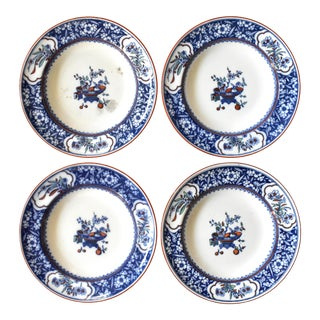 Antique Minton Chinese Blossom Blue & White Transferware Soup Bowls - Set of 4 For Sale