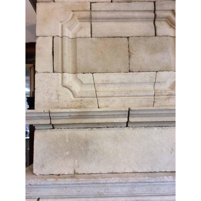 French Louis XIV Limestone Mantel with Double Trumeau For Sale - Image 3 of 5