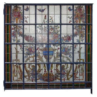 Antique French Stain Glass Window For Sale