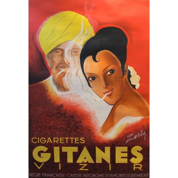 1939 Original French Art Deco Poster, Gitanes Cigarettes Advertisement For Sale