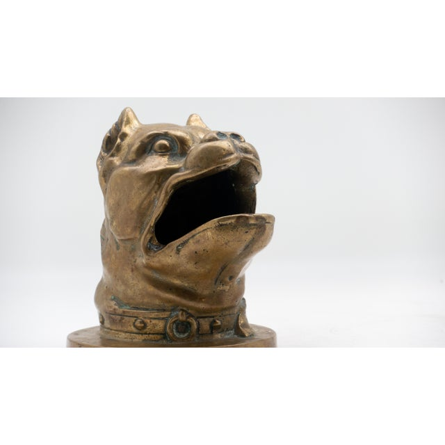 Late 19th Century 19th Century Bronze Barking Bulldog with Collar Head For Sale - Image 5 of 7